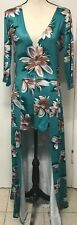 Dress Maxi Open Front Shorts Attached Luau Flowers New