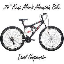 "29"" Kent Men's Mountain Bike DS Flexor Dual Suspension Steel Black Bicycle Ride"