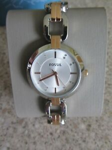 FOSSIL THREE-HAND TWO-TONE STAINLESS STEEL WATCH ~ FREE P&P