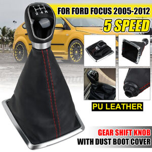 5 Speed Gear Stick Shift Knob + Dust Boot Cover For Ford Focus MK2 2005-2012