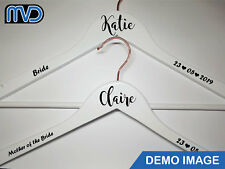 Wedding Bridal Party Vinyl coat hanger decal sticker NAME ROLE DATE DIY stickers