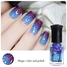 6ml Color Changing Nail Glitters Polish Thermal Peel Off Dark Purple to Blue