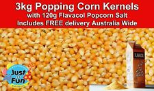 3kg Premium Bulk Popping Corn Kernels with 120g Flavacol Salt FREE DELIVERY