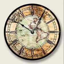ANTIQUE MAP Wall CLOCK - Western Hemisphere - Old World Look - 7013_FT