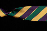 "BEN SILVER Tie, Forest Green Eggplant Gold Repp Stripe Silk Twill USA 57"" x 3"""