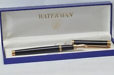 WATERMAN GENTLEMAN BLACK LAQUER &  GOLD TRIM FOUNTAIN PEN BROAD PT NEW IN BOX