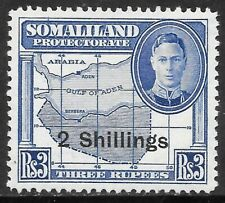 SOMALILAND 1951 2r on 3r bright blue, FM hinged with print flaw. SG 133.