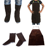 Leather Welding Apron+Welding Shoes Protector Adjustable -For Welding, Brown