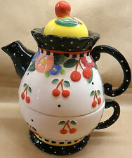 "Mary Engelbreit 2000 "" Tea For One "" Very Cherry Ceramic Teapot + Lid + Cup"