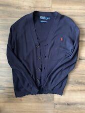 Polo Ralph Lauren Men's Medium Navy Button Sweater Cardigan Pima Cotton w Pony