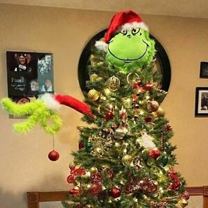Christmas Decorations Furry Green Grinch Arm XMas Ornament Holder Tree Sets New