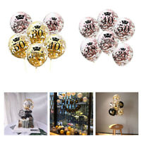 "10pc/12""Gold Birthday Crown Theme Balloons 16/18/21/30/40/50/60th Decor Party"