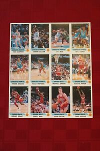 1990-91 Panini sticker sheet of 12 with Jordan, Pippen, Grant, Hodges