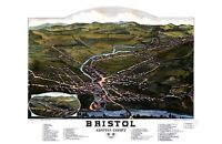 "1884 Birds Eye View Bristol, NH Vintage Map 11"" x 17"" Art Print Reprint"