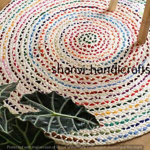 Bohemian Hand Braided Round Rugs 90 CM Cotton Area Dhurrie Modern Floor Rag Rug