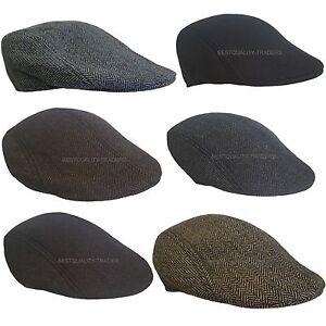 New Black Grey Linen Flat Cap Hat Mens Ladies Country Pre-Formed Peak Newsboy