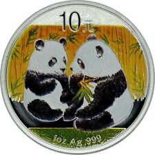 10 YUAN SILBER CHINA PANDA 2009  mit Farbapplikation  Color