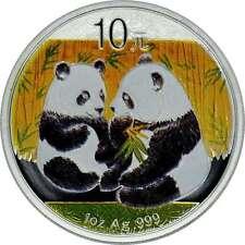 10 yuans plata china panda 2009 con color farbapplikation