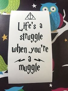 Life's A Struggle When You're A Muggle Wine Bottle Vinyl Decal