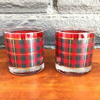 x2 Plaid Highball Glasses Scottish Print