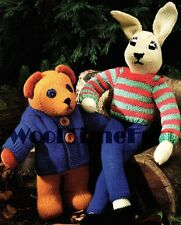 Knitting Pattern Toy Teddy Bear & Bunny Rabbit.