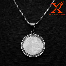 """24"""" Stainless Steel Silver LIBERTY Charm Pendant Necklace Box Chain 3MM"""