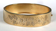 A VICTORIAN CHESTER HALLMARKED SILVER GOLD PLATED OPENING BANGLE SATIN EFFECT