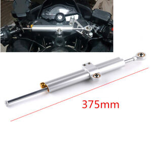 375mm Silver CNC Motorcycle Steering Damper Stabilizer Assist Lengthed Arm Post