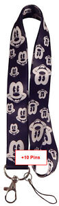 Disney and Various Lanyards with 10 Assorted Disney Trading Pins ~ NEW Lanyard