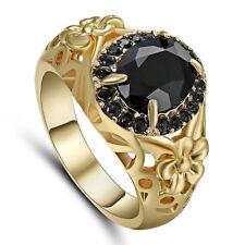 Jewelry Fashion Black Sapphire Ring Size 6 Women's Yellow Gold Filled Wedding