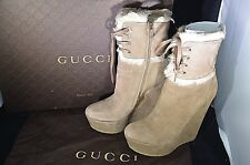 "GUCCI Vitello Range Curl LAMB 296266 Boot 6"" Heel 2"" Platform 38.5 courtney $995"