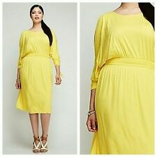 LANE BRYANT PLUS SIZE COLD SHOULDER DAY SUN DRESS YELLOW 18/20 SUMMER SPRING