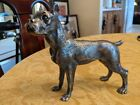 """HEAVY GREAT DANE BOXER DOG STATUE, PEWTER, 6"""" hi x 6"""" wide MADE IN ITALY"""