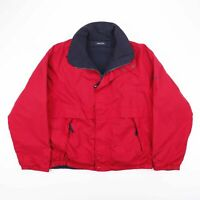 Vintage NAUTICA Reversible Fleece Outdoor Jacket Red Navy Blue Mens Size Medium