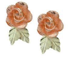 Small 10k Black Hills Gold Rose Earrings