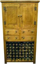 NEW SOLID WOOD RUSTIC PLANK PINE TALL WINE BOTTLE RACK SIDEBOARD CUPBOARD BASE