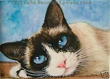 Impresión ACEO raquetas de nieve gato de pintura original de Suzanne LE GOOD