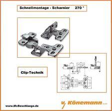Schnellmontage-Scharnier Möbelband Topfband 270° Clip-Technik