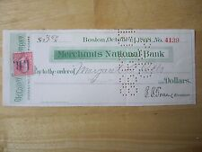 1898 Boston- Merchants National Bank Check with 2 cent stamp