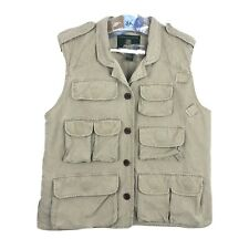 Orvis Hunting Fishing Vest Mens Size L Large Pockets Tan Beige Brown Quilted