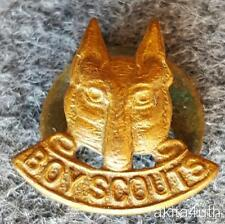 Early Cub Scout Lapel Button Device - Brass -  British or Canadian Wolf Cub