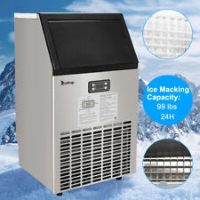 99lbs Built-in Commercial Ice Maker Stainless Steel Restaurant Cube Machine Us