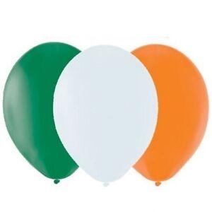 30 x ST PATRICKS DAY IRISH FLAG COLOURED PARTY BALLOONS IRELAND DECORATIONS Q33