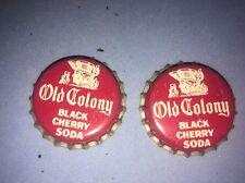 2 Bottle Caps Vintage Old Colony Black Cherry Soda UnCrimped Massachusetts Pop