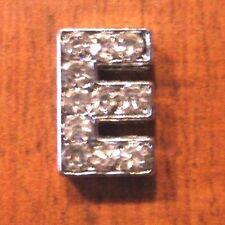 lot de 2 lettres E strass 12x8 mm pour bracelet 8 mm