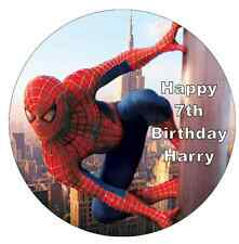 "Spiderman Cake Topper Personalised 7.5"" Edible Wafer Paper Birthday Party"