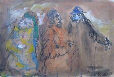 "KUBA BLACHER ISRAELI / AUSTRALIAN PEN OIL ""THREE STANDING FIGURES ISRAEL"" 1976"