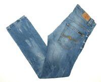 "Nudie Thin Finn Pure Blue Designer Men's Jeans Actual Size W34"" L34"""