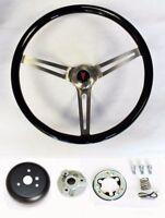 "69-93 Pontiac Grand Prix GTO Firebird Black Wood Steering Wheel High Gloss 15"""