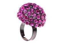 Large Round Fuschia Purple Rhinestone Crystal Cocktail Fashion Charm Rings